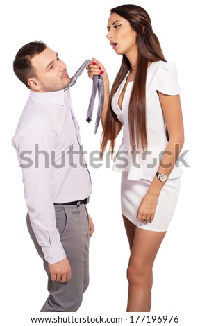 Female boss berates his subordinates. Interaction in the business team. Woman director and a man slave. The working relationship between a man and a woman. Isolated, white background. Space for text. - stock photo