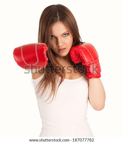Female Boxer, on the white background - stock photo
