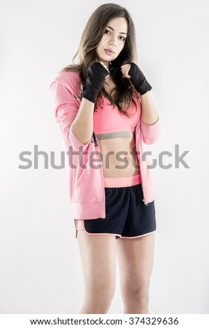 female boxer ready for punch  - stock photo