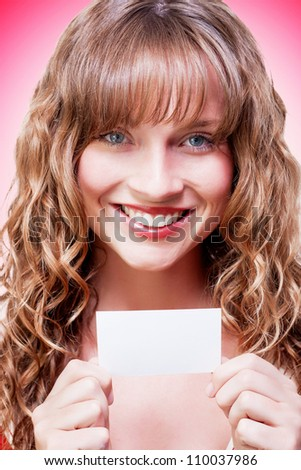 Female Brand Marketing Professional Displaying Blank Copyspace Business Card In A Company Self Promotion Concept On Pink Background - stock photo