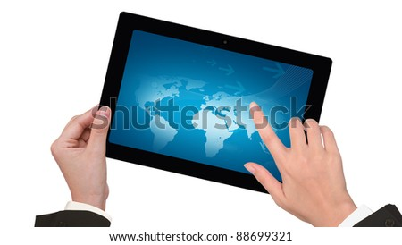Female business person  hands writing on laptop