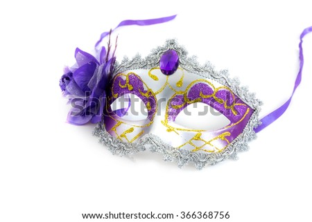 Female carnival mask on white background - stock photo