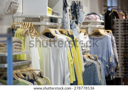female casual clothes  for sale in boutique - stock photo