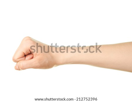 Female caucasian hand gesture of a clenched fist isolated over the white background - stock photo