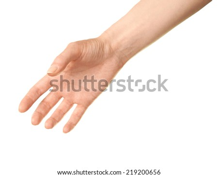 Female caucasian hand gesture suggesting a handshake, isolated over the white background