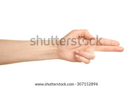 Female caucasian hand pointing gun palm gesture isolated over the white background - stock photo