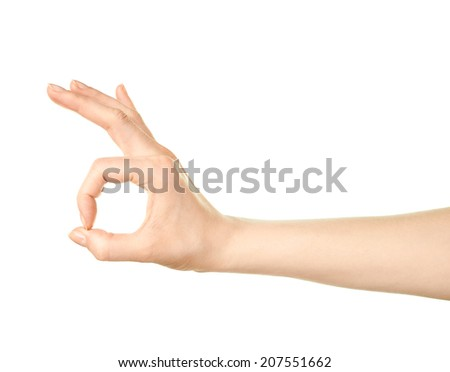 Female caucasian okay hand gesture sign isolated over the white background