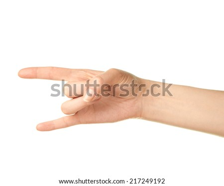 Female caucasian sign of horn hand gesture isolated over the white background