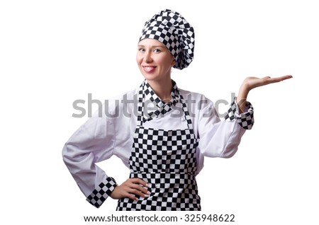 Female chef in uniform isolated on white