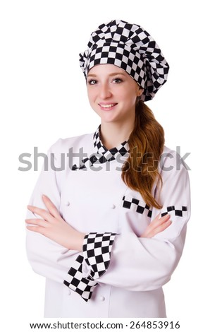 Female chef isolated on white - stock photo