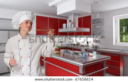 Female chef tasting delighted the contents of a wooden spoon