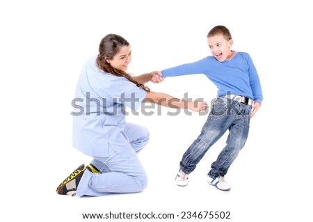 female child doctor isolated in white with boy