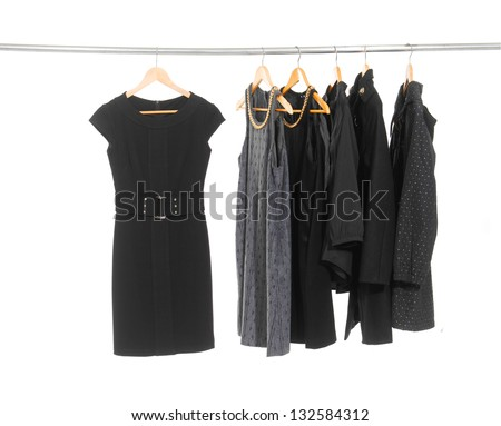 female clothes on Hangers - stock photo