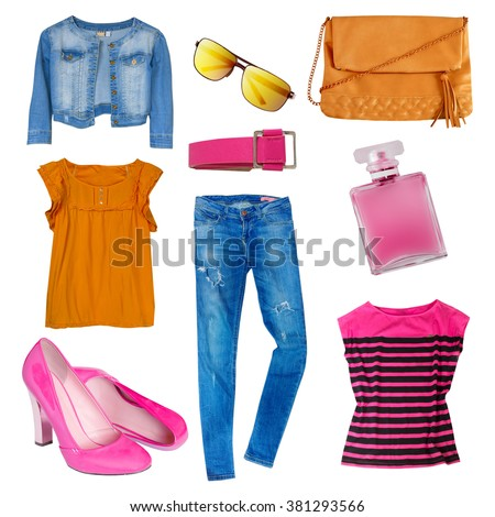 Female clothes set collage isolated on white.Woman's modern female summer bright clothing & accessories.Torn jeans,jacket,top,shoes,bag. - stock photo