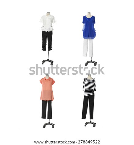 Female clothing on four mannequin isolated on whit background - stock photo