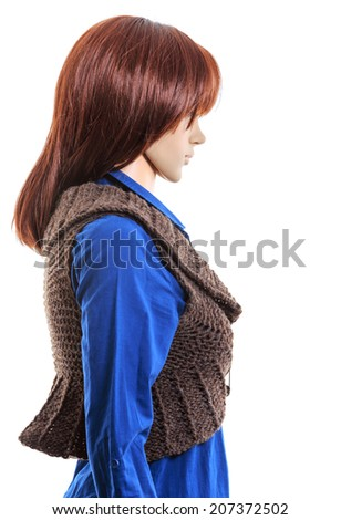 Female clothing on mannequin in light . This file is cleaned, retouched. - stock photo