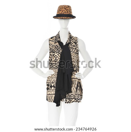 female clothing with hat, scarf on mannequin  - stock photo
