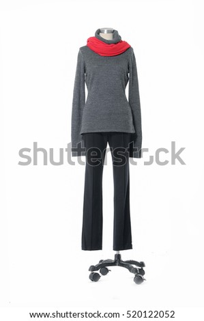 female clothing with red scarf, jeans on mannequin