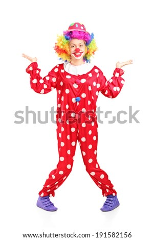 Female clown gesturing with hands isolated on white background