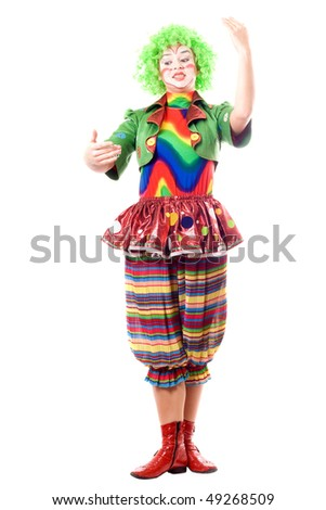 Female clown, gives a speech. Isolated on white - stock photo
