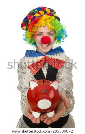 Female clown with moneybox isolated on white