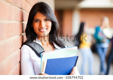 female college student closeup portrait - stock photo