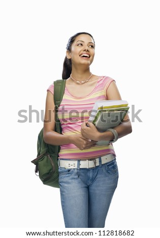 Female college student holding files - stock photo