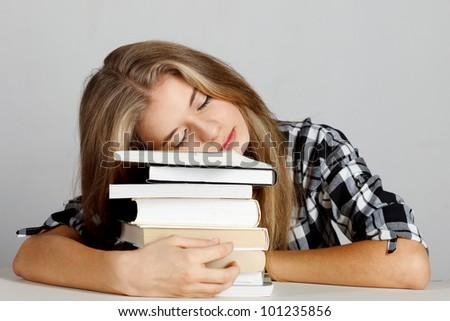 Female college student. Studio shot - stock photo