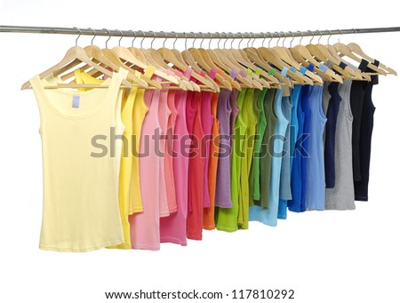 Female colorful shirt on a hanger - stock photo