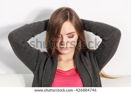 Female contemplating serious matters. Astonishing beauty thinking about higher things. - stock photo