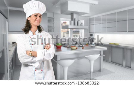 Female cook in the kitchen