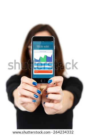 Female customer paying for purchase with mobile phone (smartphone) in iphon style - stock photo