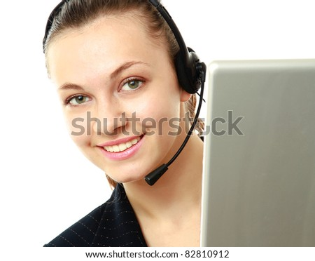 female customer service operator with a laptop