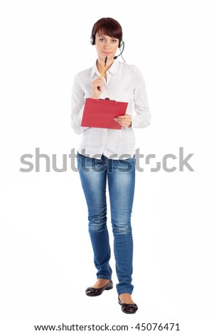 Female customer service representative with headset and clipboard in thoughtful pose, isolated on white background. - stock photo