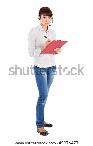 Female customer service representative with headset and clipboard, isolated on white background. - stock photo