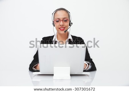 Female customer service  with headset - stock photo