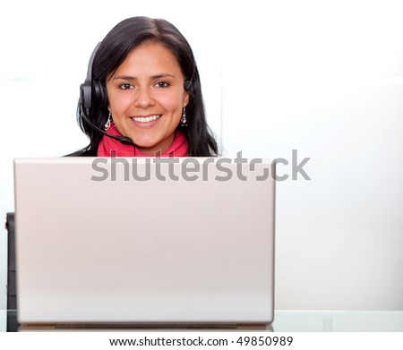 female customer support operator with a laptop - isolated
