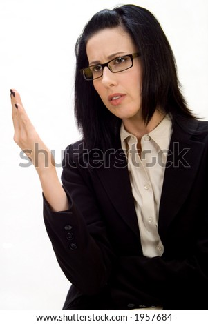 Female debating or discussing - stock photo