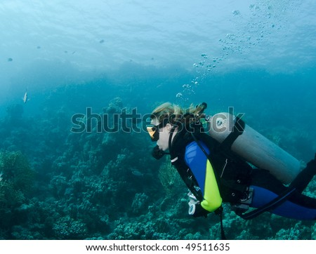 Female diver in the clear waters of the Red Sea, Egypt - stock photo