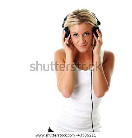 Female DJ with headphones and a sexy smile