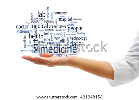 Female doctor hand with word cloud. Medical concept - stock photo