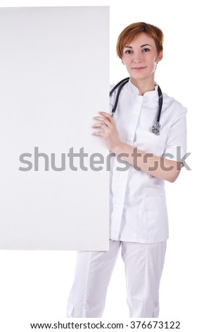 Female doctor holding a blank sign on white.
