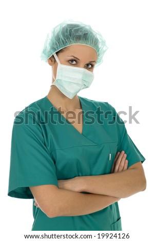 Female doctor in scrubs - stock photo