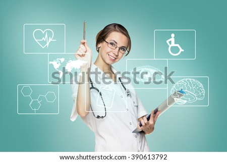 Female doctor in uniform touch hexagon with icons