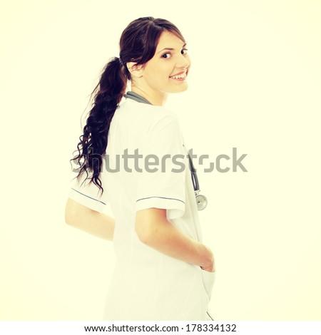 Female doctor isolated on white background - stock photo