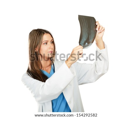 Female doctor with an x-ray isolated on white background. - stock photo