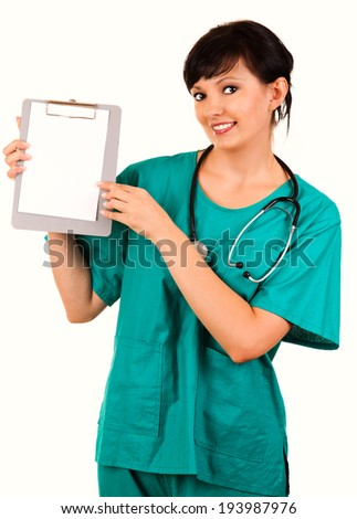 female doctor with clipboard, white background - stock photo