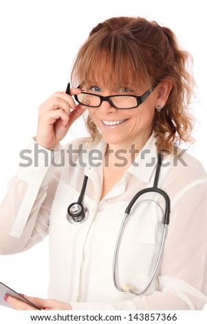 Female doctor with stethoscope wearing a white shirt. White background. - stock photo