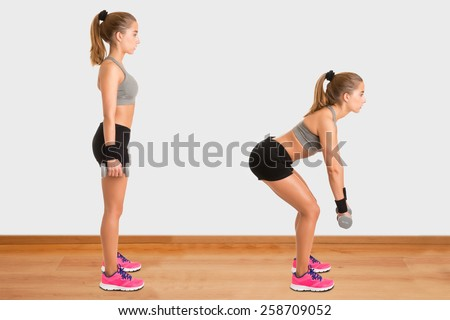 Female doing dumbbell deadlifts in a gym