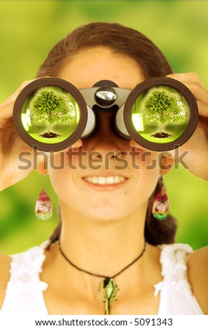female ecologist watching out for the environment - stock photo